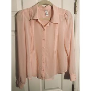 Forever 21 women's medium button down blouse pink